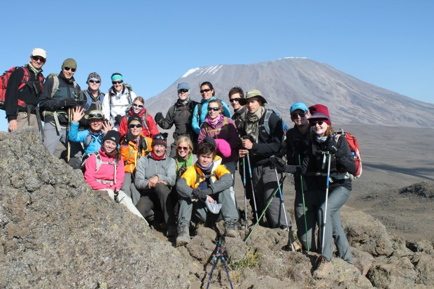 The 2013 team reaching the alpine desert right below high camp.