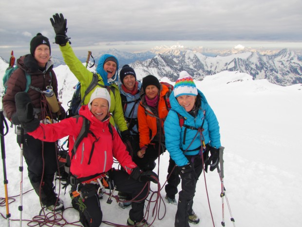 Ann, Christina, Chantal, Rebecca, Pascale and Marlene on top of Abene flhu 3,962m Berner Oberland