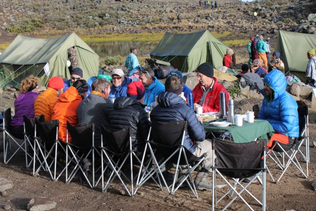 Breakfast at Mawensi camp or camp 3. 3,700m