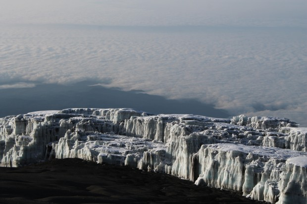 The glacier near the summit of Kilimanjaro