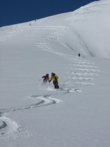 skiing below col de l'Eveque on the way to Bertol hut
